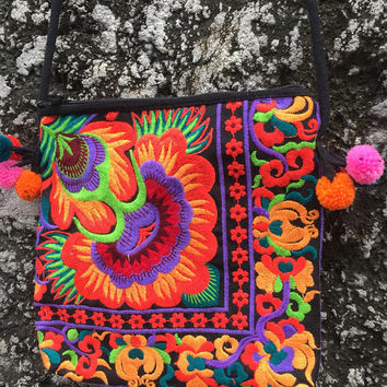 Neon Multi Embroidered Boho Crossbody Pom pom bag Flower Coin Purse Phone bag gypsy Hippies Pouch Bohemian style Festival Christmas gift