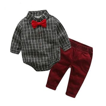 Baby Boy Clothes born Clothing Sets Broad Cloth Baby Gentleman Plaid T-shirt + Jeans 2Pcs set