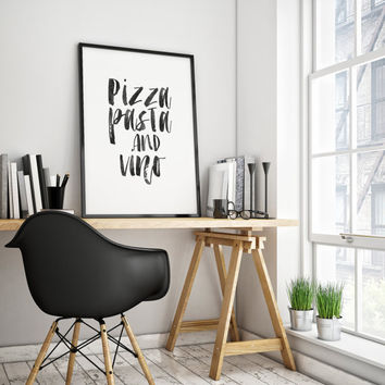 PRINTABLE Art,Pizza Pasta And Vino,Kitchen Wall Art,Bar Decor,Restaurant Decor,Home Decor,Watercolor Design,Black And White,Quote print