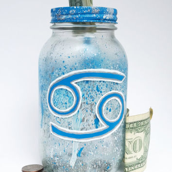 Cancer Zodiac Mason Jar Bank- Cancer Astrology Sign- Zodiac Decor- Mason Jar Piggy Bank- Astrology Decor- Painted Mason Jar- Cancer Zodiac