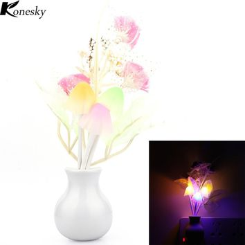 Konesky Luminaria LED Night Light Lamp Novelty Light Sensor Colorful Nightlights Mushroom Flower Plant Lilac