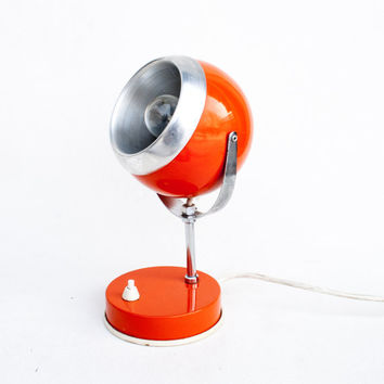 Atomic Orange Desk Lamp, 70's Vintage