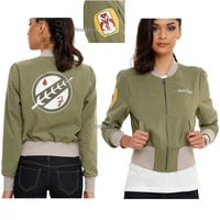 Licensed cool Star Wars Boba Fett GREEN Bomber Jacket Her Universe Cosplay HT Exclusive L -2X