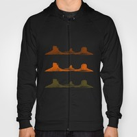 Monument Valley, 3 mountains, 3 colors Hoody by Claude Gariepy