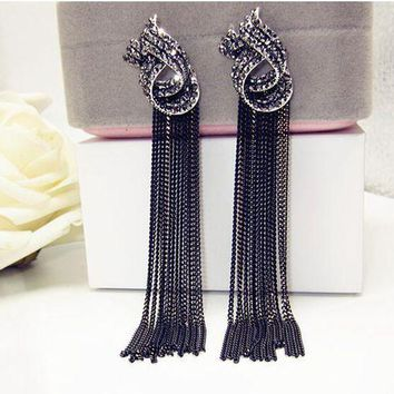 DCCKFV3 Luxury Rhinestone Vintage Tassel Earrings Drop Earring For Women Party Jewelry Black Chains Long Dangle Earrings