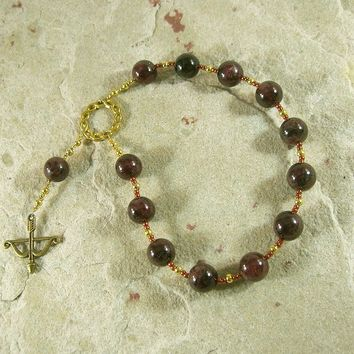 Apollo Pocket Prayer Beads in Garnet: Greek God of Music and the Arts, Health and Healing