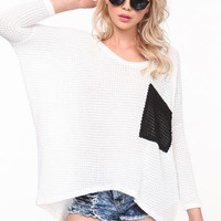 CONTRAST WAFFLE SWEATER TOP