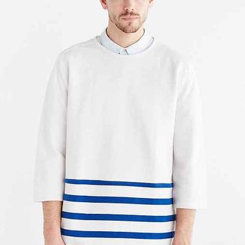 CPO 3/4-Sleeve Stripe Crew Neck Sweatshirt- Blue