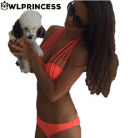 Owlprincess Newest Sexy Multi-Strap Solid Triangle Push Up Women Bikini Set Bandeau Bra Bandage Bikinis Halter Swimsuit Swimwear