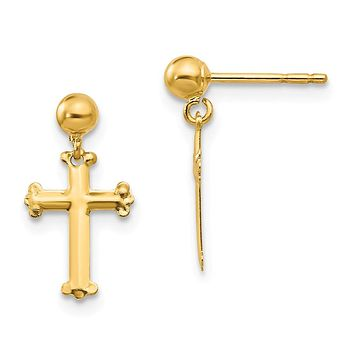 14k Yellow Gold Madi K. CZ Cross Dangle Post Earrings - Religious Jewelry