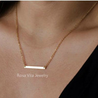Minimalist Gold Bar Necklace - dainty, cute, simple and lovely pendant jewelry;