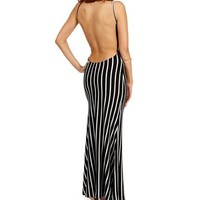 BlackWhite Striped Maxi