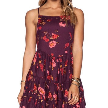 Free People Circle of Flowers Slip Dress in Wine