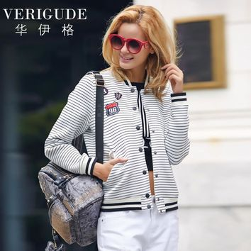 Veri Gude Striped Jacket Women Bomber Jacket Coat for Autumn Patch Design