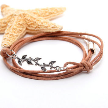 Leather Wrap Bracelet LEAF MOTIF Sterling Silver Link and Natural Tan Indian Leather
