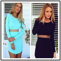 Two-Piece Black Party Dress Long Sleeve
