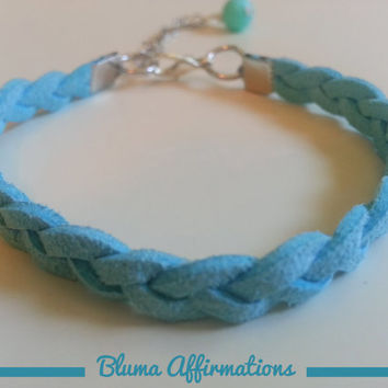 Braided Faux Suede Bracelet, Faux Leather Bracelet for Women and Girls feat. Wire Wrapped Bead Dangle (Made in USA)