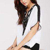 Crochet-Paneled Gauze Top