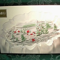 """Serving Platter Mikasa Clear Frosted Glass Tray Christmas Winter Landscape Oval 17"""" Platter Holiday Entertaining Gift"""