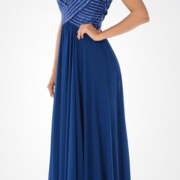 Navy Blue Sweetheart Neck Sequined Bodice Long Formal Dress