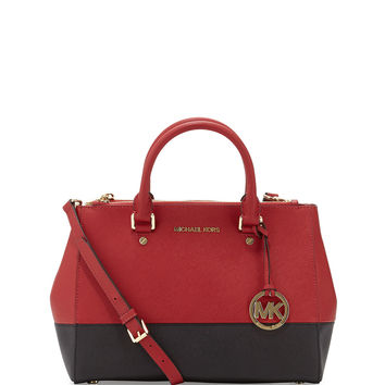 Sutton Medium Satchel Bag, Dark Red/Black - MICHAEL Michael Kors