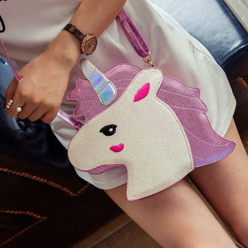 Unique design laser cute unicorn diamond shape envelope package Clutch handbags wallet purse