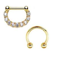 16G Septum Clicker and Horseshoe Circular Barbell 16 Gauge Goldtone 2PC