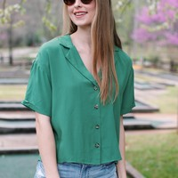 Going Green Button Down Collared Blouse, Green
