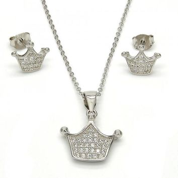 Sterling Silver 10.275.0007 Necklace and Earring, Crown Design, with White Micro Pave, Polished Finish, Rhodium Tone