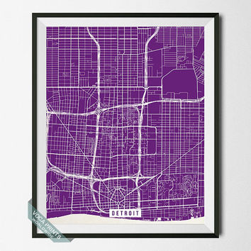 Detroit Print, Michigan Poster, Detroit Street Map, Michigan Map Print, Motor City, Modern Decor, Street Map, Back To School