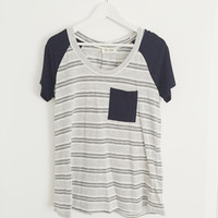 Izabella Striped Pocket Tee (Navy)