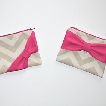 Cosmetic Case / Zipper Pouch - Natural Beige Chevron with Hot Pink Bow - Choice of Bow Style