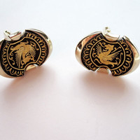 Vintage Black and Gold Cufflinks with Dragons by Latrouvaille