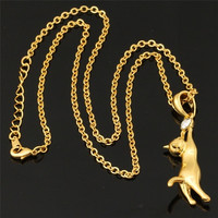 Hot Lovely Girls 18K Gold Plated Austrian Rhinestone Cute Cats Necklace Pendant MGC