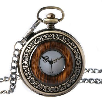 Imitation Wood Necklace for Men Women Elders Seniors Gifts Watches Vintage Retro