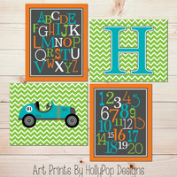 Baby Boy Nursery Decor Modern Nursery Wall Art ABC number prints Race Car Transportation Nursery Prints Turquoise Orange Nursery Art #0684