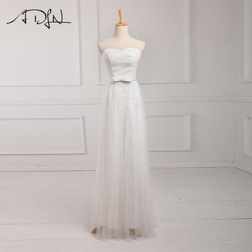 Sweetheart Ivory Bridesmaid Dresses Lace Long Maid of Honor Dress Wedding Guest Gown