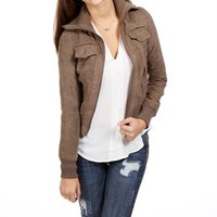 Gray Faux Suede Collar Jacket