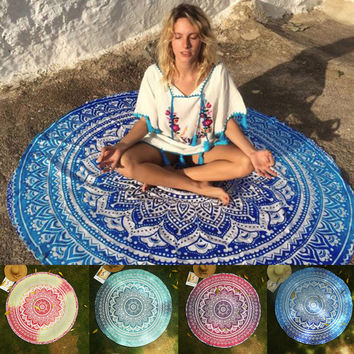 Round Mandala Tapestry Indian Wall Hanging Beach Throw Towel Yoga Mat Picnic Blanket Shawl Bohemia Decor Carpet Rug Tapestry