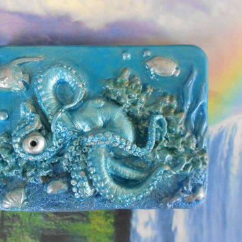 Crystal Blue Octopus Incense Holder, Incense Burner,