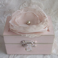 Beautiful Soft Blush Wedding Ring BOx with a Champagne Lace and Blush Organza Flower Puff andPearl