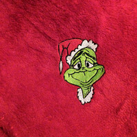 Grinch Blanket Throw Embroidered Personalization AVAIL! Hi Pile Plush Fleece Blanket SNuggLy FuN GrinchMaS GifT Designs by Sugarbear