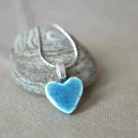 Blue heart necklace, ceramic pendant necklace, Valentines day gift for her