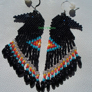 Native American Style Brick Stitch Beaded Raven Earrings