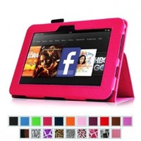 "Fintie Kindle Fire HD 7"" (2012 Old Model) Slim Fit Leather Case with Auto Sleep/Wake Feature (will only fit Amazon Kindle Fire HD 7, Previous Generation - 2nd), Magenta"
