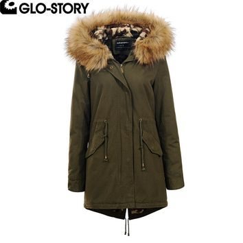 GLO-STORY Woman Leopard Wool Liner Long Parka Women Adjustable Waist Winter Plus Size Faux Fur Hooded Coat Women 2017 WSX-5019