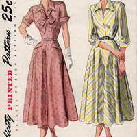 Tea Dress Simplicity 1940s Sewing Pattern Fit Flared Skirt V Neck Bow Tie Collar Vintage Party Casual Bust 32 Uncut