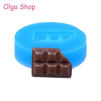 KYL029 16.7mm Bitten Chocolate Bar Flexible Silicone Mold - Dessert Mold Fondant, Baking Tools, Gum Paste, Icing, Resin, Candy
