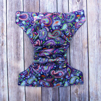 All in Two Diaper-  AI2 Cloth Diaper- Purple Paisley One- size- Purple Cotton Velour-Hemp Bamboo Insert-Eco-Friendly Reusable - all in one