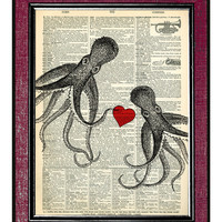 OCTOPUSES IN LOVE Wall Decor Dictionary Print Book Print Wall Hanging Wall Art Dictionary Page Art Home Decor Heart Art Octopus Art